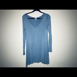 Blue long sleeve T-shirt dress wet seal medium